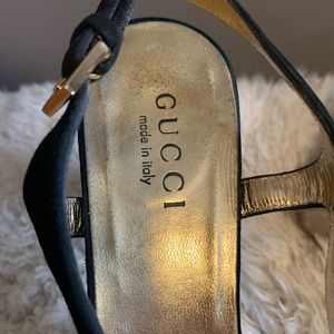 Gucci Shoes - Gucci black suede sling back heels